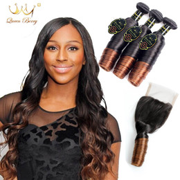 Discount ombre weaves closure 8A Grade Ombre Peruvian Hair Pure Human Funmi Hair 3 Bundles With lace Closure Free Part 1B 4# 4*4 Funmi lace closure