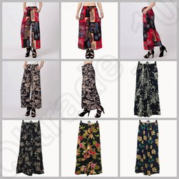 Wholesale LJJJ119 Fashion Women Lady Bohemian Floral Wide Leg Pants Summer Casual Cotton Loose Capris Trousers Palazzo Pants Hot