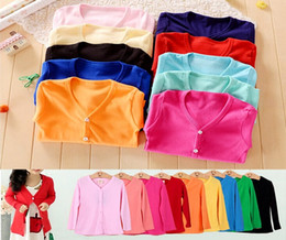 Wholesale 2016 Hot new INS Autumn Spring cotton children cardigan sweaters kids sweater candy colored cardigan boys girls cardigan children outwear