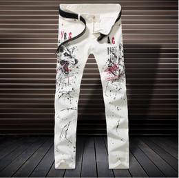 Wholesale 2017 nueva manera de la caída blanco impreso jeans para hombres de alta calidad elásticas Vaqueros ajustados pantalones ocasionales de los hombres de la ropa vaquera para hombre Plus En general NXX137 Tamaño