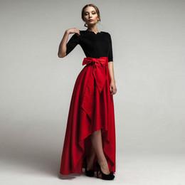 Wholesale Carmen Maxi Dress Formal Asymmetrical Skirt Evening Dress with Bow New Arrival High Quality Satin