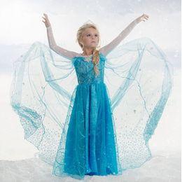 Wholesale Samgami baby elsa frozen fever dress blue snowflake dress long cape dress elsa queen costume in stock
