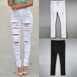 Discount High Waisted White Ripped Skinny Jeans | 2017 High ...
