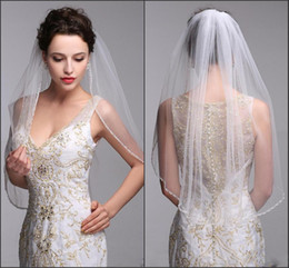 Wholesale One Layer Bridal Wed Veils With Comb White And Ivory Wedding Veil Cathedral Tulle Beaded Short Wedding Veil