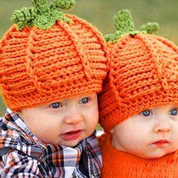Wholesale DHL free Lovely Newborn Baby Boys Girls Pumpkin Cap Handmade knit Crochet winter Hats Halloween Costume Photography Prop Gift Children