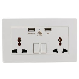 Discount universal adapter plate Universal Wall Socket Dual 2 USB Plug Switch Power Supply Plate 2100mA Charger Electric Socket Outlet Adapter Plug BI119