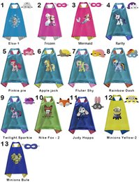 Wholesale Double side kids Superhero Cartoon cute Capes and masks Elsa Frozen Minions Yellow Mermaid for kids capes with mask DHL