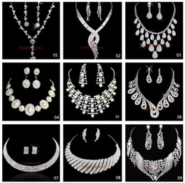 Hot Sale 9 Style Shining Rhinestones Crystals Wedding Party Bridal Bridesmaid Necklace and Earrings Jewelry Set Free Shipping In Stock