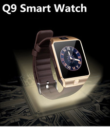 2017 sleep trackers Q9 Smartwatch Bluetooth Smart Watches GSM Watches with Genuine Leather Band Camera Sleep Monitor DHL cheap sleep trackers