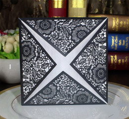 Wholesale Free Printing Laser Cut Wedding Invitations In Color Black Gold White Hollow Personalized Invitations Cards BW I0015
