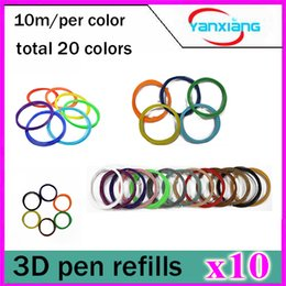 2017 pen refills blue color 10pcs PLA 3D Printer Accessories Filament 1.75mm 10M 20 Color Sample Pack 3D Pen Filament Refills YX-CL-01