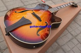 online shopping Sunburst jazz Semi Hollow guitar with pickups acoustic electric guitar Chinese guitar