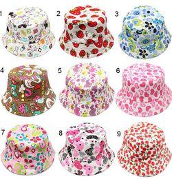 Wholesale Newborn Color Children Bucket Hat Casual Flower Sun Printed Basin Canvas Topee Kids Hats Baby Beanie Caps