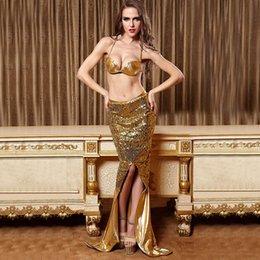 Wholesale Oro al por mayor atractivo de la sirena de la cola El traje fantástico Sirenita de Halloween para las mujeres con lentejuelas de la piel artificial del Carnaval de vestuario