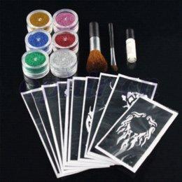 Wholesale OPHIR Glitter Tattoo Colors Glitter Powder Temporary Glitter Tattoo Kit for Body Art Paint Nail with x Stencils Glue TA054