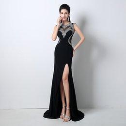 Wholesale Custom Sexy Black Senhoras formal smoking elegante branco Rhinestone Mermaid Evening Dresses Split Partido Vestidos celebridade vestidos QW708