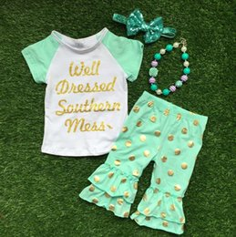 Wholesale 2016 Summer design girls baby style hot gold dot well dressed capri outfit child clothing with matching necklace and bow