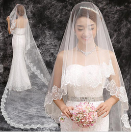 Wholesale Long Wedding Veil Exquisite Cheap Bridal Veil One Layer Lace Edge Cathedral Length Beads Bridal Veil Wedding AccessoriesHT71