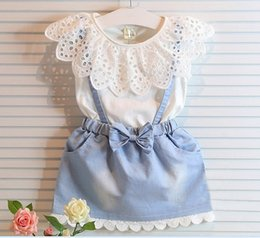 Wholesale Korean Style Girl Summer Lace Hollowed T shirt Denim Suspender Skirt Children Clothing Outfit Set sets KB478