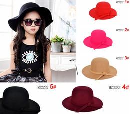 Wholesale 2016 Autumn Winter Bucket Hat Children Caps Kids Hats Girls Caps Sun Hat Kids Cap Girls Hats Wool Cap Fashion Wide Brim Hats