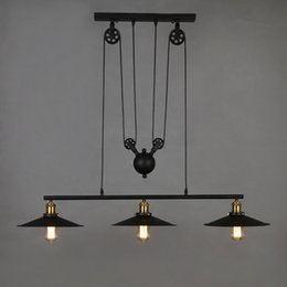 2017 adjustable pendant lighting pulley loft retro wrought iron black vintage chandeliers industrial adjustable pulley pendant adjustable pendant lighting