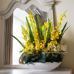 Artificial Flowers Flowers Decorated Flower Flower Ornaments Set Silk Floral Art Potted Oncidium Living Room Decoration