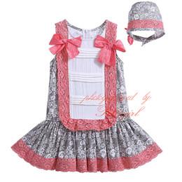 Wholesale 2016 Pettigirl Lolita Style Infant Girls Light Brown Dresses With Headwear Bows Boutique Lace Hem Decoration Toddler Wear G DMGD905