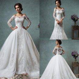 Wholesale Full Lace Wedding Dresses with Detachable Skirt Amelia Sposa Cheap Plus Size Sheer Long Sleeve Modest New Vintage Sequins Bridal Gowns