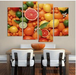 4 Panels Wall Decor Oil Painting For Kitchen Fruits On Canvas Decorative No Frame Art Picture Prints On Canvas Paintings