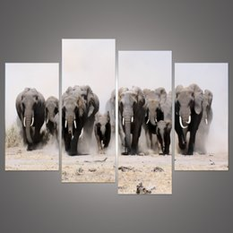 Wall Art Picture Animal Modern Home Decoration Canvas Print A Herd Of Elephants Oil Painting Printed On Canvas For Living Room H 204