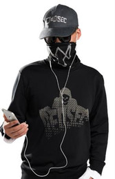 Wholesale Game Watch Dogs Marcus Holloway Long Sleeve Hoodie Men s Cosplay Cotton Black Sweatshirt M XL