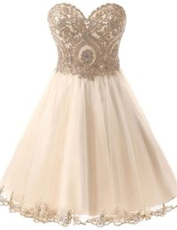 Wholesale Corset Homecoming Dresses Short Vestidos Pelo Joelho Formal Champagne Prom Dresses with Crystals