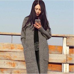 Wholesale 2016 FS0691 long Cardigan Femmes Automne Hiver Chandail Femmes solides Mesdames manches longues en maille Cardigans Pull gris Camel Noir Couleur