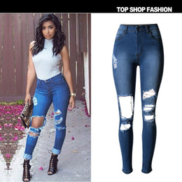 Discount Dark Blue Ripped Skinny Jeans | 2017 Dark Blue Ripped ...