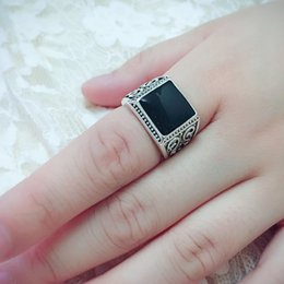 discount wedding ring man woman new design silver plated new design black square cut stone rings - Wedding Ring Man
