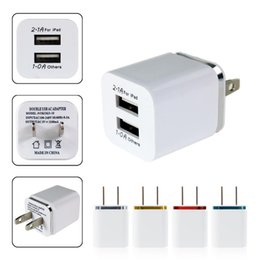 Discount 1a iphone adapter Wholesale-High Quality 5V 2.1 1A Double US AC Travel USB Wall Charger for iPhone Samsung Galaxy HTC Cell Phones Adapter
