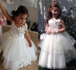 Wholesale Cute White FlowerGirl Ball Gowns Flower Girls Dresses For Weddings Kids Tulle Long Children Little Girl Pageant Dress Handmade Flowers