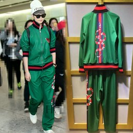 Wholesale Runway Sets For Women Brand new embroidery thread butterfly and snake edging Jackets and casual pants suit Green