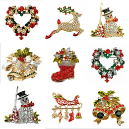 Fashion Jewelry Christmas Brooch Rhinestone Crystal Brooches Jeweled Bell Snowman Deer Brooch And Pin Clothes Decor Christmas Gifts from red christmas pins wholesale manufacturers