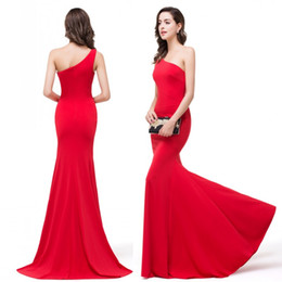 Wholesale Cheap Under Sexy One Shoulder Red Long Mermaid Prom Dresses Ruffle Floor Length Evening Party Dresses CPS359