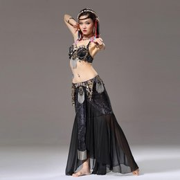 Wholesale Stage Dance Wear Tribal Belly Dance piece Outfit Coin Bra Chiffon Belly Dance Skirt with Gold Chain Belly Dance Costume