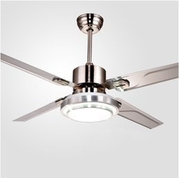 wholesale remote control ceiling fans with lights modern led fashion lights stainless steel wing fan - Decorative Ceiling Fans