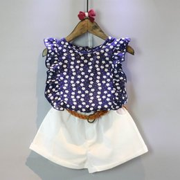 Wholesale 2016 Summer Girl Sets Floral Chiffon Shirts White Shorts Outfits Children Clothing T