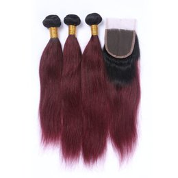 Discount ombre weaves closure 99j Burgundy Malaysian Straight Virgin Hair With Closure Amazing Ombre Straight Human Hair Weave 3 Bundles With Lace Closures