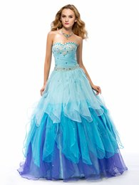 Wholesale Ball Gown Prom Dress Applique Sweetheart Quinceanera Dresses Rhinestone Pleats Debutante Dresses Backless Tiered Skirts Dresses