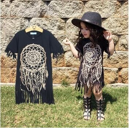 Wholesale Girls Dress new spring summer style children s clothing personality style casual baby black wild fringed dress Y hight quality free