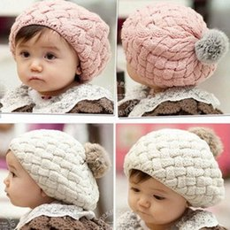 online shopping Lowest Price New Kid Hat Baby Handmade Knit Crochet Baby Beret Girl Cap Baby Hat For Child Cute Warm Kid Beanie
