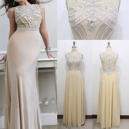 Wholesale Appliques Evening Dress Beaded Valentino Elie Saab Sash Sweep Train Sheer Neck New Party Pageant Dresses Gown Formal Gowns