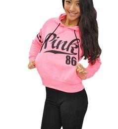 Wholesale 2016 New Spring Autumn Hoodies Loose Pink Letter Print Cotton Fleece Womens Fashion Hoodies and Sweatshirts Fashion Sweatshirt with hood