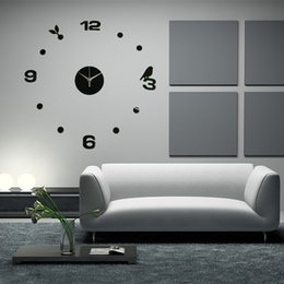best promotion brand new diy large wall clock home office room decor 3d mirror surface sticker fit for home decoration best lighting for office